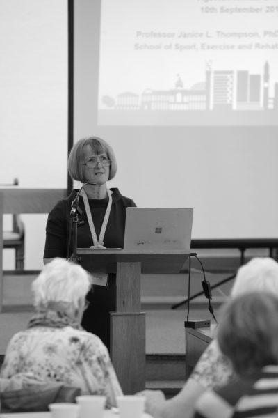 woman giving talk